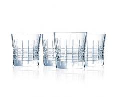 Cristal dArques L8235 Rendez-Vous Lot de 4 Verres à Vin Rouge en Cristal de Haute Qualité 4 Verres à Vin 35 cl Paroi Epaisse et Robuste, Transparent, 32 cl