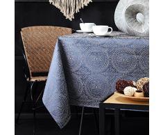 Lovely Casa Kolam Nappe, Polyester, Bleu, 140 x 140 cm