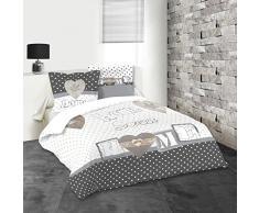 Lovely Casa Huson Housse de couette 240 x 220 cm avec 2 Taies doreiller 63 x 63 cm Coton Blanc