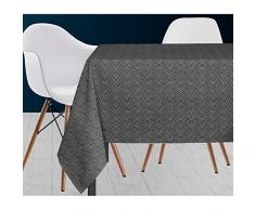 Soleil docre Paon Nappe, Polyester, Gris, 140 x 300 cm