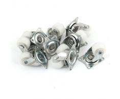 Lot de 10 2,5 cm en métal rotatif en plastique simple de Assiette plate Caster de roue