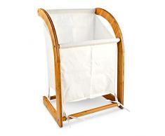 Relaxdays Panier à Linge Bambou LINEA + Sac en Toile 42x32x65cm corbeille, blanc et marron