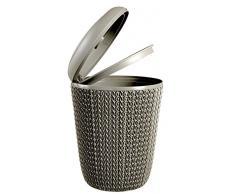 CURVER | Poubelle de salle de bain Tricot, Marron, Knit, 22,4x22,4x29,5 cm