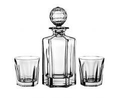 Aljulia 2111Ensemble 7 pièces avec 6 Verres à Whisky de 280ML et 1 Carafe de 0,75Litre Cristal de Plomb, Transparent