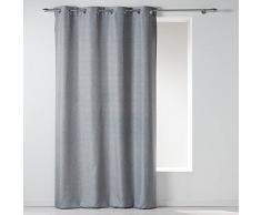 Douceur dIntérieur Rideau Oeillet Chambray Uni Polyester Newton Gris 140 x 260 x 260 cm