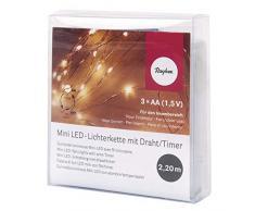 Rayher Hobby Mini Guirlande Lumineuse LED avec Fil/Minuteur, Divers, lumière Jaune, 1,15x 0.78x 0.23cm