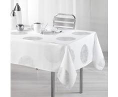 LHarmonie du décor Nappe Imprimé Argent/Platine Polyester Blanc 240 x 150 cm