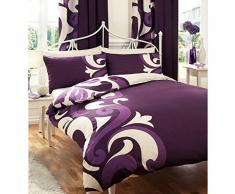 Just Contempo Parure de lit Style baroque, Polycoton, violet, Double