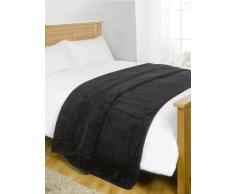 Dreamscene Luxe imitation fourrure vison Polaire Couvre-lit/plaid sur canapé lit doux Couverture chaude, Noir, 125x 150Cm-p, Polyester, noir, King - 200 x 240 cm