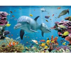 Empire Poster Dauphins des Tropiques sur Le thème du Monde sous-Marin + Accessoires de Fixation Multicolore