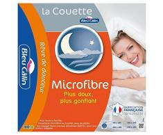 Bleu Câlin Couette 2 Personnes Microfibre, Chaude, Douce, Blanc, 220x240 cm, KMF45