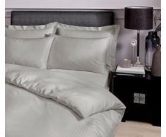 Catherine Lansfield Parure de lit à Rayures en Satin 300Fils, Percale 50% coton/50% Polyester, Gris, King