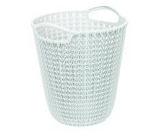 Curver 03678-X64-00 Corbeille à Papier Knit 23,1x23,9x27,2cm Blanc Plastique 23.1x23.9x27.2 cm