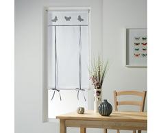 Le Jardin des Cigales 3003379 OPALINE Store droit passe tringle Polyester Gris 160 x 60 cm