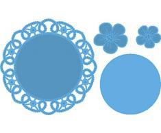 Marianne Design LR0388 Napperon à Fleurs Creatables, Métal, Bleu, 10,2 x 10,2 x 0,4 cm