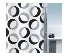 Spirella 10.15184 Rideau de Douche Rings Grey / Black Textile 180 x 200 cm