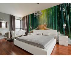 Photomural en vinyle Zen forêt de bambou   Papier peint décoratif   Plusieurs dimensions 100 x 70 cm   Décoration de salle à manger, salon, multicolore   Design élégant