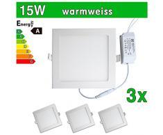 3 x LEDVero ULTRASLIM Panneau LED SMD 2835 15 W carré Lampe Plafonnier encastrable lumière spot blanc chaud sp208