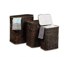 Relaxdays Panier à linge lot de 3 corbeille à linge en rotin tressé rectangulaire coffre à linge HxlxP: 545 x 455 x 335 cm 69 L malle empilable avec sac en tissu amovible boîte marron chocolat