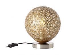 Brilliant Chane Lampe de table décorative en métal Nickel doré 40 W