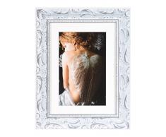 Henzo Chic baroque cadre photo bois, Bois, Weiss, 13 x 18 x 2 cm