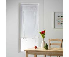 le jardin des cigales store droit passe tringle 60x160 cm voile+top brode opaline blanc