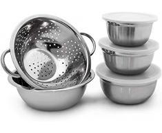 Relaxdays 10019118 Lot de 5 pièces empilables 3 bols en acier inoxydable avec couvercle 1 saladier 1 Passoire Inox mélanger conserver, argenté -30 x 24 x 10 cm