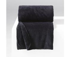 Douceur dIntérieur Jeté de Canapé Flanelle Calinou Polyester/Jacquard Noir 150 x 125 cm