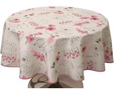 Le linge de Jules Nappe Anti-Taches Poppies Rose - Taille : Ronde diamètre 160 cm