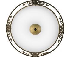 Eglo 86712 Plafonnier Mestre en acier et verre satiné 2 ampoules E27 60W max. (non incluses) Marron antique/doré 39,5x 13,3 cm