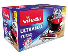 Vileda - Easy Wring & Clean Ultramat TURBO - Set complet balai à plat + seau à pédale système rotatif dessorage sans effort
