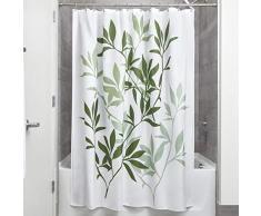 InterDesign Leaves rideau de douche, rideau baignoire design 183,0 cm x 183,0 cm en polyester, rideau salle de bain chic avec motif de feuilles, vert