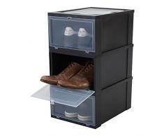 Iris Ohyama, Set - 3 boîtes à Chaussures/boîtes de Rangement pour Chaussures - Drop Front Box - EUDF-M, Plastique, Noir, 14 L, 35,5 x 28 x 18 cm