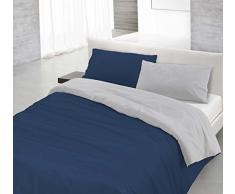 Italian Bed Linen 8058575000323Parure Housse de Couette avec sac et taies en uni réversible, bleu foncé/gris clair, 100% coton, à une place et demie, 200x 200x 1cm