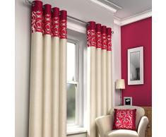 Just Contempo Rideaux doublés à œillets moderne, 116,8x 228,6cm–Rouge