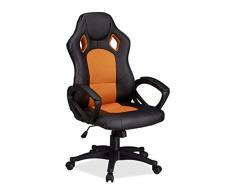 Relaxdays Chaise de Gaming Xr9, Chaise de Bureau pivotante, Confortable Fauteuil de Bureau avec Hauteur réglable, Voiture de Course, Motif Black-Orange