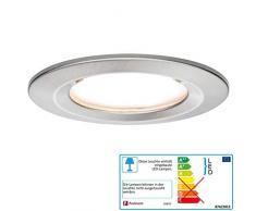 Paulmann 93859 encastrés LED Coin spots encastrés plats Slim plafonnier spot rond 6,8W Acier lumière encastrée protection contre les aspersions IP44