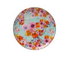 Maxwell Williams Assiette en porcelaine anglaise Motif floral cachemire Noir, Porcelaine, bleu, 19 cm