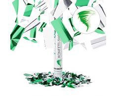Relaxdays Lanceur de confettis flocons de neige 40 cm canon cotillons fête noël décoration nouvel an portée 6-8 m, vert argenté