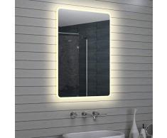 Lux-aqua Design Miroir mural Miroir lumineux à LED pour salle de bain 100x 70cm