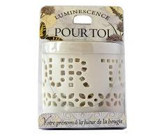 La Carterie 76009006 Photophore à Bougie Chauffe Plat, Porcelaine, Blanc, 11,1 x 7 x 7 cm