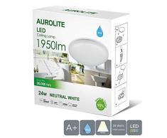 Aurolite Plafonnier LED de qualité supérieure, 24W, IP44, Ø35cm, 4000K, 1950lm, montage affleurant, idéal pour salle de bain, cuisine, entrée, bureau, couloir.