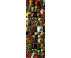 DECORATION adhésive pour CUISINE et réfrigérateurs Carrés d Épices Autocollant, Polyvinyle, Multicolore, 59,5 x 0,1 x 180 cm