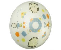 Eglo Plafonnier enfant 158061 Modèle Junior 2 avec motif personnage enfant - E27-2x 60W - sans ampoule - Ø 39,5cm Acier - Blanc/Bleu 88972