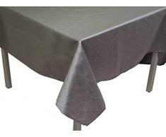 Soleil dOcre 817412 Fiesta Nappe Rectangle Impression Argent Polyester Gris 140x240 cm