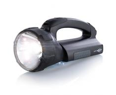 ANSMANN Projecteur portatif ASN 15HD Plus / Lampe torche de travail robuste avec ampoule halogène & LED / 550 lumens & 30 000 Lux / Batterie NiMH intégrée, bloc dalimentation & adaptateur voiture