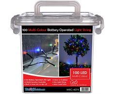 WeRChristmas Guirlande lumineuse dextérieur 100LED avec minuteur Fonctionnement à piles Multicolore 10m