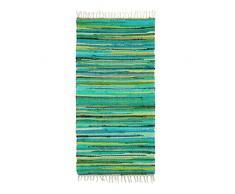 Relaxdays Tapis à franges tissé main coloré vert style indien 70 x 140 cm couloir entrée sol plancher en polyester et coton - vert