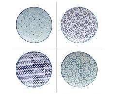 TABLE PASSION Adelie Assiette à Dessert en Grès Motifs Assortis, Blanc/Bleu, Lot de 4