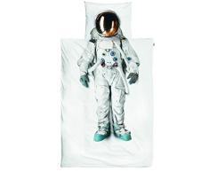 Snurk Dreaming Parure pour lit 1 Place (Housse de Couette en Percale, Blanche avec imprimé Central Astronaute, Blanc + taie)